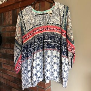 V-neck babydoll 3/4 length multi-print blouse